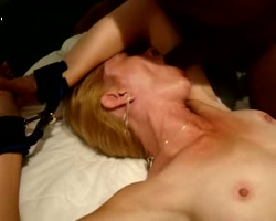 Blonde wife tied